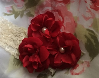 Red flower headband, three flower headband, red baby headband, newborn headband, baby flower headband, red rose headband, baby headband