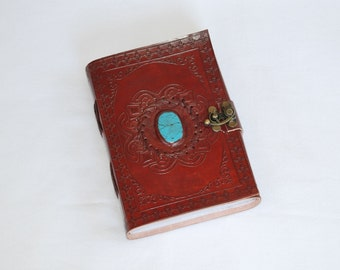 Handmade Turquoise Colored Stone Tooled Leather Blank Journal, Diary, Sketch or Notebook Book