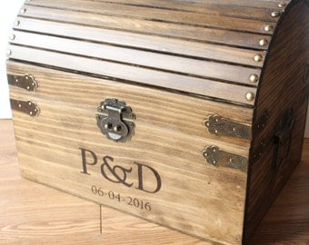 Extra Large! wedding card box, treasure chest style, rustic chic wedding box with personalized design