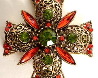 Emmons Maltese Cross Orange and Olivine Rhinestone Brooch