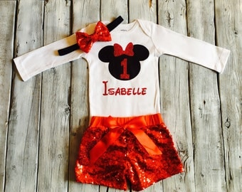 Personalized red and black minnie mouse first birthday outfit, red and black minnie birthday outfit, red black first birthday minnie outfit