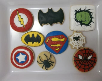Superhero Cookies, Batman, Superman, Ironman, Captain America, Hulk, Spiderman/ 1 Dozen