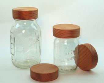 Hand Turned Redwood Mason Jar Lids
