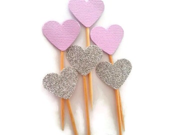 Heart cupcake picks - lavendar/purple and silver heart cupcake toppers, wedding, baby shower, first birthday , anniversary, , bridal shower,