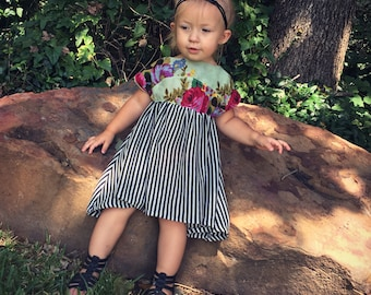 Floral and Stripes high-low dress, kids dress, linen and knit dress, baby dress, baby floral dress, handmade kids dress, high low dress