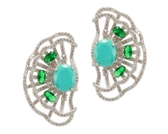 Lara Heems Lilly Earrings Green/Tuquoise
