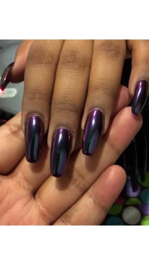 Nail Powder: MIRROR Nail CHROME Powder Purple/Blue Chameleon For Nail