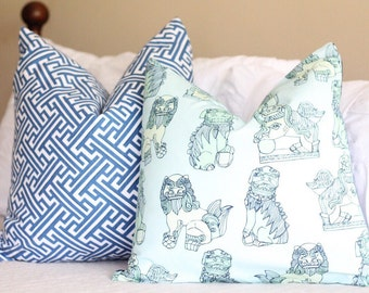 cotton & quill foo dogs pillow cover // asian inspired // chinoiserie fabric // foo dog pillow covers // navy pillow covers // coral pillows
