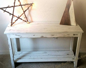 Rustic Reclaimed Wood Farmhouse Sofa Side Entryway Table