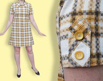 60s Brown Plaid Dress - Brown & Orange Tartan Mod Dress - Empire Waist Mini Twiggy Wool Dress - Collared Preppy Autumn School Girl Dress