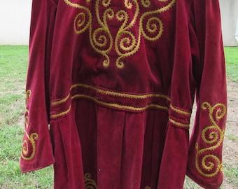 Vintage Oddfellows Lodge Robe Red Velvet Trim Embellishment