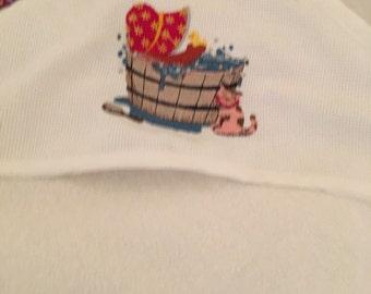 Bath Time Bonnet Terry Cloth Hooded Bath Towel