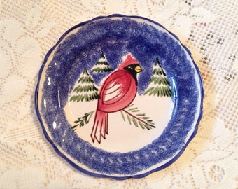 Cardinal Plate, Red Cardinal, Wall Plate, Red And Blue Plate, Made In Italy For Marketplace, Vintage Plate, Vintage Cardinal Plate