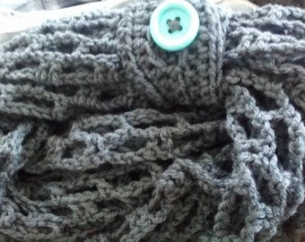 Charcoal Grey Infinity Scarf with Light Blue Button