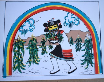Greeting card Corn maiden rainbow cloud corn mask Erinsong