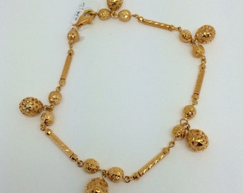 18K Solid Yellow Gold Ball Charm Bracelet