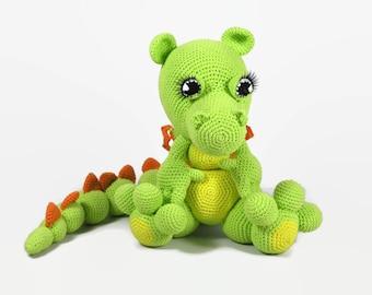 Crochet dragon-Crochet Dinosaur-stuffed green Dragon-colorful Dinosaur-Dragon doll-Plush Dinosaur-green Dragon-Drakosha-amigurumi dragon