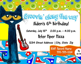 Pete the Cat Birthday Party Invitation | Digital File