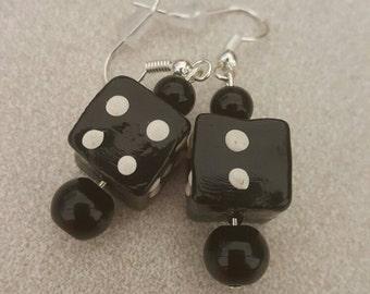 Black glass dice earrings