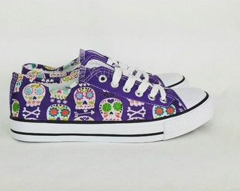 Sugar skull shoes, purple shoes, women shoes, candy skull shoes, custom pumps, alternative, gift for her, girl shoes, skull shoes,rockabilly