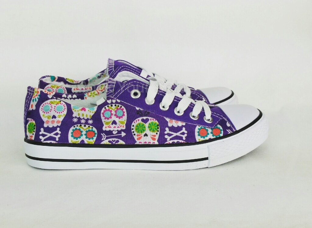 Sugar skull shoes purple shoes women shoes candy skull