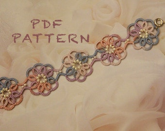 Tatting lace bracelet pdf pattern (Clematis)