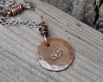 Lotus Flower Necklace, Spiritual Jewelry, Stamped Necklace, Minimalist Necklace, Copper Necklace