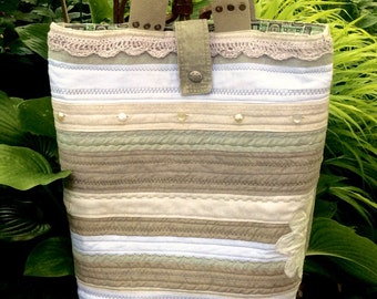 Patchwork Linen Tote Bag, Quilted linen tote. Neutral linen summer bag