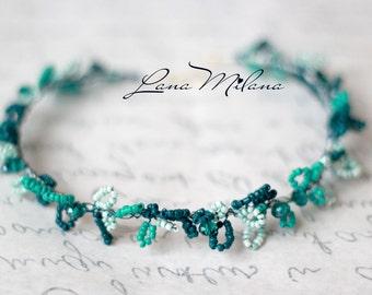 Ready to ship Turquoise crown of beads. Stretchable Hair Wreath. Tiara. Headband. Wreath Boho. Bridal Headpiece