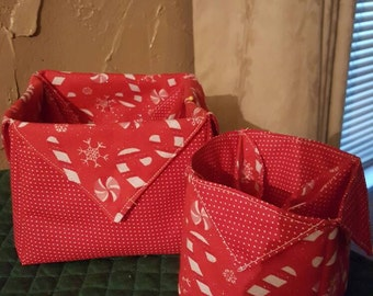 Set of two Holiday fabric boxes.  Perfect as a gift, Holiday candies,  hairclips,paper clips,business cards,crayons,pens & pencils, etc