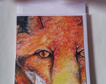 Stunning fox watercolour and pen blank greetings card.