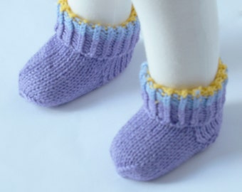 Hand knitted Pair of Socks for Your Baby  - Organic Wool - READY TO SHIP - Size: 0-3 months