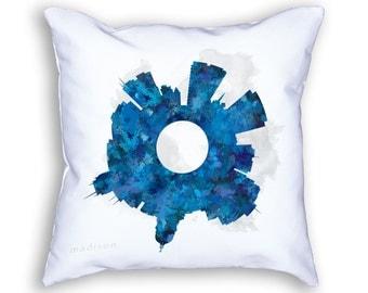 Madison Wisconsin Small World Skyline Designer Throw Pillow, Madison Decor, Madison Skyline, Madison Art, Madison Cushion