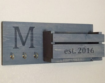 Rustic Monogram Mail and Key Holder, Weathered Gray, Personalized Letter And Key Holder