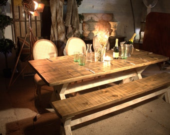 X Frame Hand made Dining Table- Rustic Reclaim