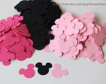Baby shower Minnie Mouse decorations Minnie paper confetti cutouts Minnie table decorations baby pink hot girl first birthday party Disney