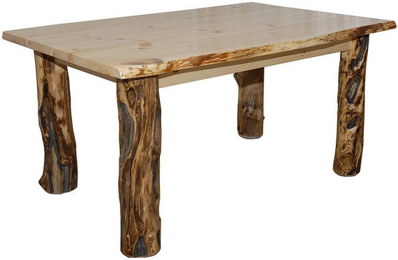 Rustic aspen log kitchen table only handmade custom amish for Kitchen table only