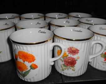 10 Original Bohema Flower of the Month Mugs All Months but September and January