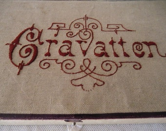Antique vintage CRAVATTEN fabric box linen embroidered