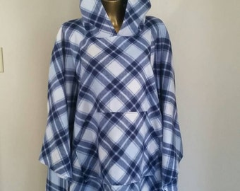 Mens or Womens Poncho In Navy, White and Light Blue Plaid With  Front Pocket One Size Fits All