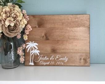 Wedding Guest Book Alternative, Tropical Island Palm Tree Design, Beach Wedding, Destination Wedding / Painted Wedding Decor Wood Guest Book