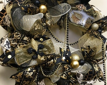 Mardi Gras Wreath, Black and Gold Fleur de Lis Mardi Gras Decor