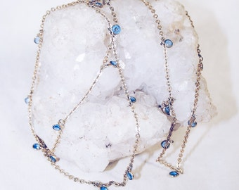 Long Gold Chain with Blue Crystals