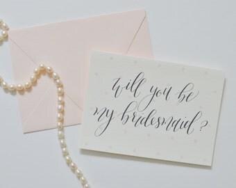 Bridesmaid Cards | Digitally Printed Calligraphy | Set of 8