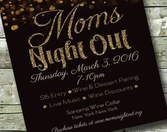 Glitter Mom's Night Out ~  Women's Networking ~ Meet & Greet ~ 5x7 Invite ~ 8.5x11 Flyer ~ 11x14 Poster ~ 300 dpi Digital Invitation