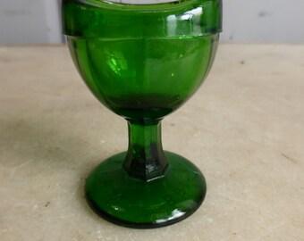 Antique green glass eye bath