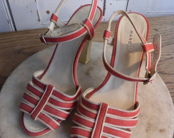 Vintage Marc Jacobs ladies coral high heeled sandals size 37 UK 4