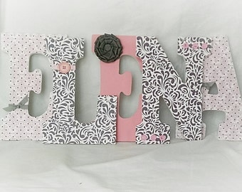 Girls nursery letters, custom wall letters, hanging letters for nursery, girls room decor, pink and grey nursery