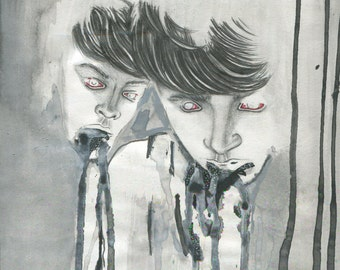 GOODNIGHT MOMMY Art Print, Watercolor and Pencil Portrait Illustration by Ivan Kolev