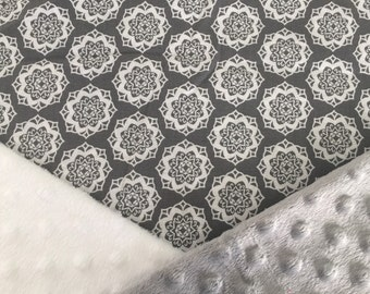 Personalized Minky Baby Blanket, Grey and White Medallion Minky Baby Blanket